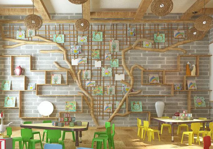 装修效果图 六边形餐厅墙面酒架装饰架安装设计